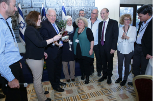 President of Israel Reuven Rivlin, Leo Baeck Community Center Director Yoav Yagol, and leadership of community centers from throughout Israel